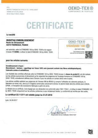 Renouvellement Certificat OEKO-TEX100